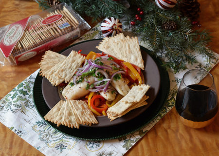 Slow-Roasted Cod With Bell Peppers And Capers with La Panzanella Croccantini crackers